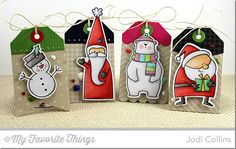 Hi everyone!  Happy Tuesday! It's time for the November MFT Creative Challenge!  This month, it's all about Christmas with MFT!  One thing I NEVER ever have enough of around Christmas are tags!  I made a quartet of tags to adorn some of my special gifts this year!   These were all so very fun to mak