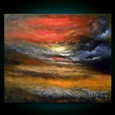ORIGINAL - Landscape painting impressionist field painting large painting cloud painting original painting 22 x 28 Mattsart