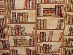 Vintage Library Books Designer Curtain Upholstery Prestigious Quality Fabric