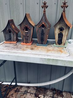 Bird houses made from barn wood Salvaged Wood Projects, Dad Crafts, House Made, Barn Wood, Bird Houses, Projects To Try, Scrap, Woodworking, Outdoor Decor