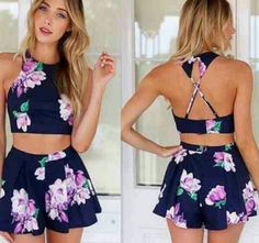 Navy blue purple green floral sleeveless x back halter crop top two piece short romper