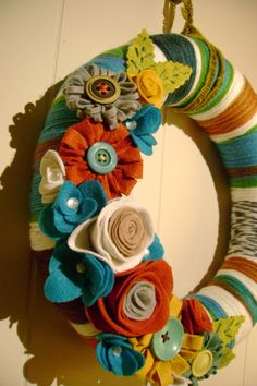 Yarn and Felt Flower Wreath 14in Retro Ruth by cakoons on Etsy