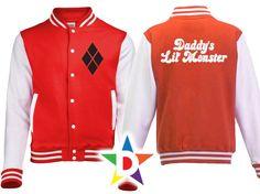 Mens Harley Quinn Daddy s Lil Monster Varsity Jacket Hoodie Small Medium Large