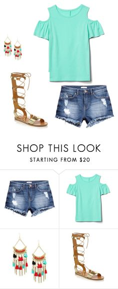 """Spring 2017"" on Polyvore featuring H&M, Jardin and Ancient Greek Sandals. Turquoise cold shoulder top, cut off shorts."