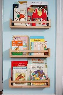 Book display. Spice rack shelves from Ikea.