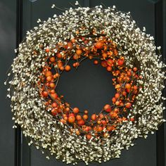 Fall Wreath - Thanksgiving Wreath - Autumn Door Decor - Berry Wreath for Fall  ITEM DESCRIPTION ::::::::::::::::::::::::::::::::::::::::::::::::::::::::::::::::::::::::::  A delicious combination of orange, and cream berries.  ITEM DETAILS/SIZE :::::::::::::::::::::::::::::::::::::::::::::::::::::::::::::::::::::::::: -Item Size/Dimensions: 12, 14, 16, 18, or 20 outside diameter. -Approx 4D. -Must be used indoors, or outdoors in a protected location only. -This wreath cannot be directly…