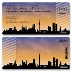 Perfekt für eine Party im Stil des Münchener Nachtlebens. https://www.gestaltenlassen.com/einladungskarten-als-skyline-munchen.html