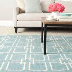 Martha Stewart Square Dance Geyser Blue Wool/ Banana Silk Rug - Overstock™ Shopping - Great Deals on Safavieh 7x9 - 10x14 Rugs