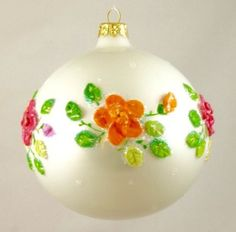 White with Colored Roses Christmas Ornament