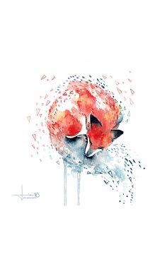 By kelogsloops from deviantart, Lovely fox watercolor http://kelogsloops.deviantart.com/art/rest-598827778