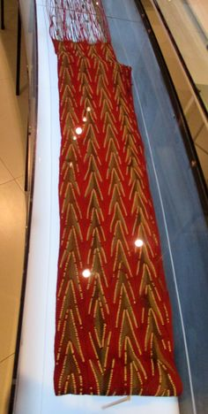"""1840-1880 Huron-Wendat (First Nations) Sash at the McCord Museum, Montreal - From the curators' comments: """"Aboriginal people have been finger-weaving dyed or plain plant fibres - hemp, for example - into sashes long before the arrival of Europeans. Following the introduction of European wool yarns, First Nations women embraced the new materials to create finger-woven sashes, or ceintures fléchées, which they sometimes decorated with white beads."""""""
