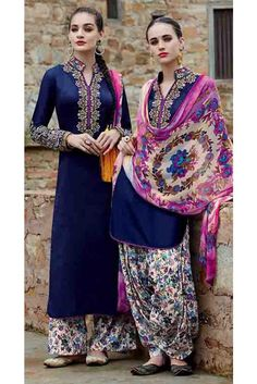 Attractive Navy Cotton Embroidered Patiala Salwar Kameez