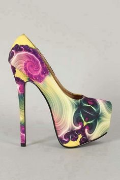 Multi color heels OMG I'm CRAZY for this Heel. Adore the Purple Floral, Feathery Design