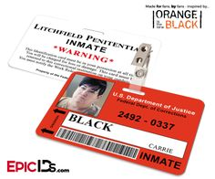 Orange is the New Black Inspired Litchfield Penitentiary Inmate Wearable ID Badge - Black, Carrie (Big Boo)