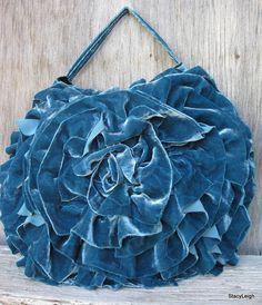Teal Silk Velvet Deconstructed Ruffle Rosette by stacyleighatelier, $100.00
