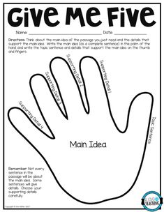 """Download this free main idea """"Give Me Five"""" printable to use in the classroom."""