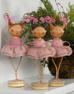 Lori Mitchell - Bella Ballerninas - Set of 3 - Wooden Duck Shop Paper Mache Projects, Paper Mache Clay, Paper Mache Crafts, Clay Projects, Clay Art, Clay Dolls, Art Dolls, Clothespin Dolls, Paperclay