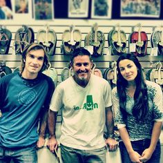 Visits from rock-climbing royalty. Chris Sharma (left) and Daila Ojeda (right) sit stoked with Sanuk founder Jeff Kelley.