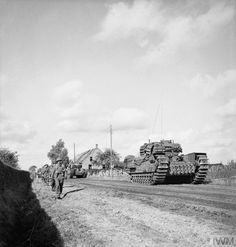 Churchill tanks and infantry advance during the attack by Division on an enemy pocket near Overloon, 14 October British Army, British Tanks, Photo Dump, Ww2 Tanks, Armored Vehicles, Churchill, Armed Forces, World War Two, Wwii