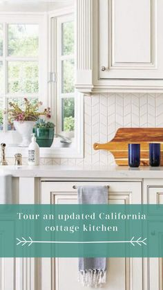 This California cottage with a kitchen update features a gorgeous color palette and personalized touches. See more at cottagesandbungalowsmag.com