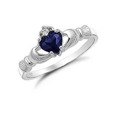 Kriskate & Co. Sterling Silver Blue Sapphire Heart Cz Claddagh Ring... (€15) ❤ liked on Polyvore featuring jewelry, rings, accessories, blue sapphire ring, wide sterling silver rings, cz rings, wide rings and sterling silver jewelry