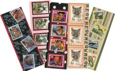 Bookmarks I made for our booth at the Tucson Meet Yourself, using cancelled postage stamps from our collection.