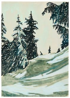 Peter Doig (British, b. Untitled, Watercolour on paper, x cm. Contemporary Landscape, Landscape Art, Contemporary Artists, Landscape Paintings, Peter Doig, Hunters In The Snow, Tate Gallery, David Hockney, Winter Trees
