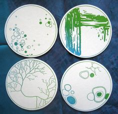 Petri Dish Paper Coaster Set / letterpress science and biology / science coaster set / nerdy home decor / laboratory chic / creative barware