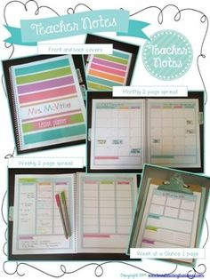 DAYBOOK TEACHER BINDER  2014-2015 - Preppy colors and styles! PDF and select pages Editable $5.00 From Tina's Teaching Treasures