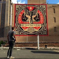 Shepard Fairey aka Obey Giant is currently busy working on the streets of Chicago where he just finished working on this first new piece for the Art Alliance exhibition. Street Art Utopia, Street Art News, Street Artists, Amazing Street Art, Amazing Art, Shepard Fairey Art, 3d Floor Art, Political Art, Monster Art