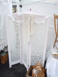 folding screen with lace- great if we want to seperate spaces.
