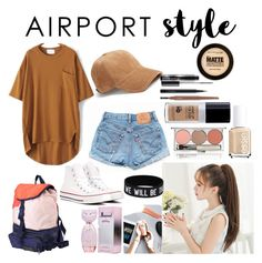 """""""Airport style"""" by lauralydix on Polyvore featuring Levi's, rag & bone, Chantecaille, Maybelline, MAC Cosmetics, L'Oréal Paris, Converse and adidas"""
