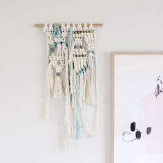 """f i b r e a r t on Instagram: """"[White Water] Macrame wall hanging the mini version. Asymmetrical and full of texture. A perfect contrast to the sleek sharp lines of my framed print. Which I adore by the way @yorkelee_prints x #macandmoredecor #macrame"""""""