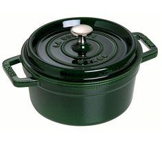 Staub Round Cocotte, green cast iron pot