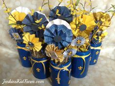 Jenkins Kid Farm: Blue and Gold Banquet Centerpiece - Lollies In A Can