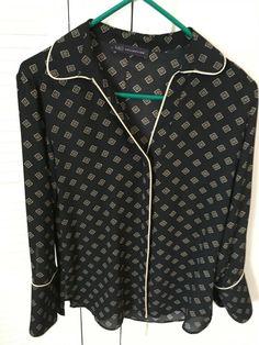 Marks & Spencer Womens / Girls  Long sleeved Black & Gold M&S Shirt Top Size 10
