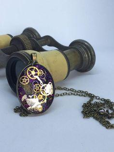 Timeless purple oval steampunk pendant