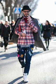 On the street at Milan's fall 2016 men's fashion week. Photo: Imaxtree.