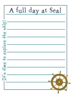 "General Cruise - A full day at Sea! - Explore the ship! - Project Life Journal Card - Scrapbooking. ~~~~~~~~~ Size: 3x4"" @ 300 dpi. This card is **Personal use only - NOT for sale/resale** Ship's wheel from www.clker.com Fonts are Stamping Nico www.dafont.com/stamping-nico.font and Sugarpie www.dafont.com/sugarpie2.font ***Click through to photobucket for more versions of this card including ones without the side text :) ***"
