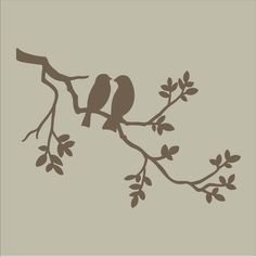 "Stencils Two Birds on Branch Stencil Design / 14"" wide x 10"" Tall BEAUTIFUL Pillow Stencils Sign Stencils Furniture Stencils"