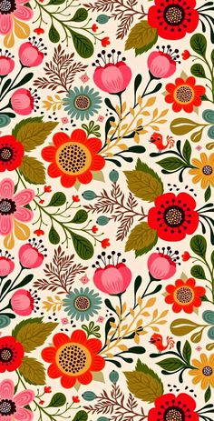 Floral illustrated iphone wallpaper