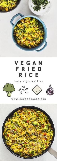 Quick and easy recipe for Vegan Fried Rice. This simple meal for weeknights at home and takeout lunches requires only 25 minutes to make!