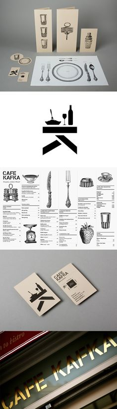 Café Kafka identity by Lo Siento, Barcalona- Branding Corporate Design, Brand Identity Design, Graphic Design Branding, Packaging Design, Logo Design, Stationery Design, Corporate Identity, Logo Restaurant, Restaurant Menu Design
