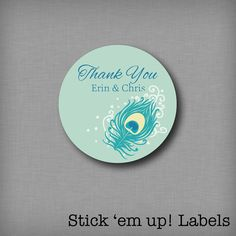 Custom Thank You Stickers For Wedding Favors by StickEmUpLabels, $5.50 Peacock thank you favor stickers