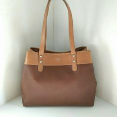 """Fossil Audri Leather Shopper Tote Saddle Brown Leather. Magnetic Snap Closure. Fabric Interior. 1 Zip Pocket and 2 Slip Pockets. 16""""W X 11""""H X 5""""D. Fossil Bags Totes"""