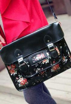 Vintage Style Satchel (Large) - New Black Flower | WhiteFeather | ASOS Marketplace - StyleSays