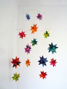 Hey, I found this really awesome Etsy listing at http://www.etsy.com/listing/62147236/hanging-nursery-origami-star-mobile-vela