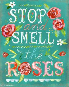 GreenBox Art 'Stop and Smell the Roses' by Katie Daisy Graphic Art on Wrapped Canvas Size: Daisy Art, Watercolor Quote, Illustration, Wise Words, Me Quotes, Girly Quotes, Bright Quotes, Magic Quotes, Pretty Quotes