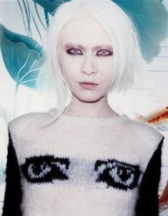 Connie Chiu (Chinese albino model) wearing a Siouxsie Sioux sweater.