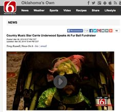 Bella Rose in Orostani Couture being interviewed for Channel 6 News at Oklahoma's Annual Alliance for Animals Fur Ball. March 8 2014 Carrie Underwood